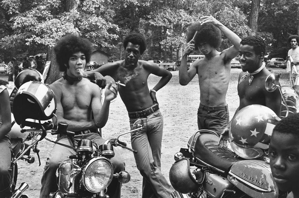 Roland L. Freeman  Bikers take a break  Sunday afternoon in Druid Hill Park Baltimor, Maryland September 1973.JPG