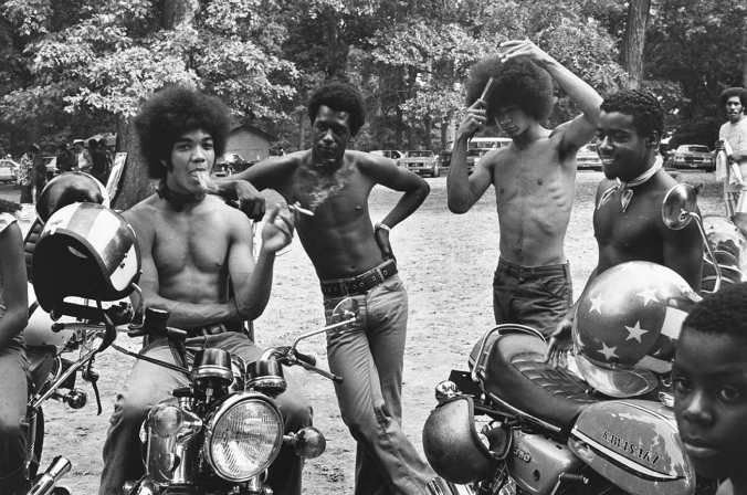 Roland L. Freeman  Bikers take a break  Sunday afternoon in Druid Hill Park Baltimor, Maryland September 1973.JPG