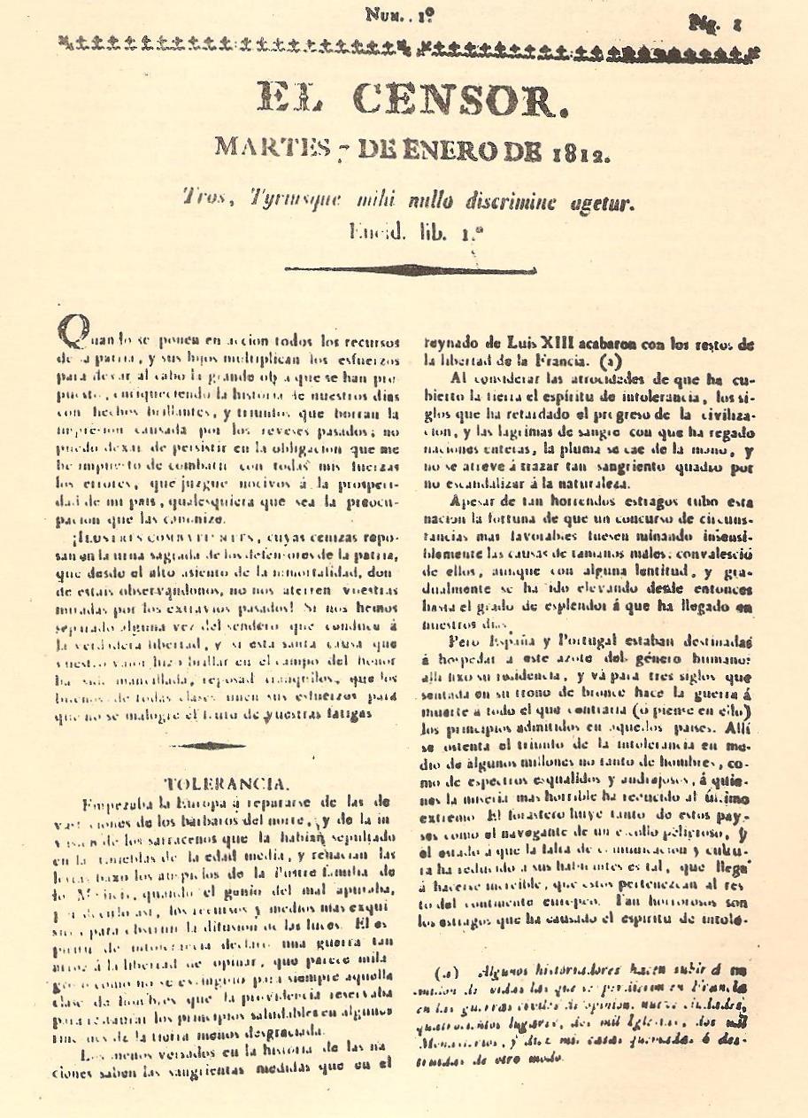 Periódico El Censor, precursor de las protestas contra el Santo Oficio